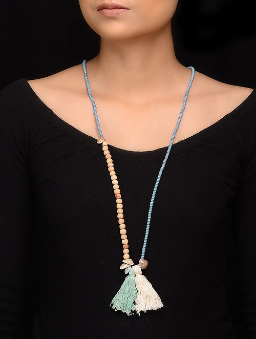 Blue Brown Wooden Beaded Handcrafted Necklace with Tassels