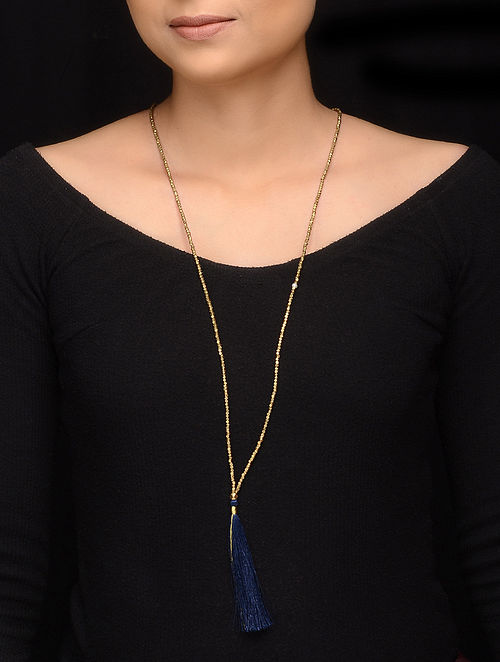 Blue Gold Brass Beaded Handcrafted Necklace