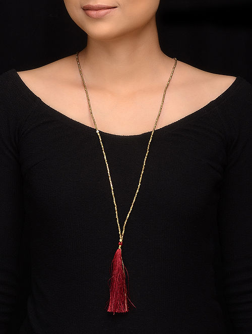 Red Gold Brass Beaded Handcrafted Necklace