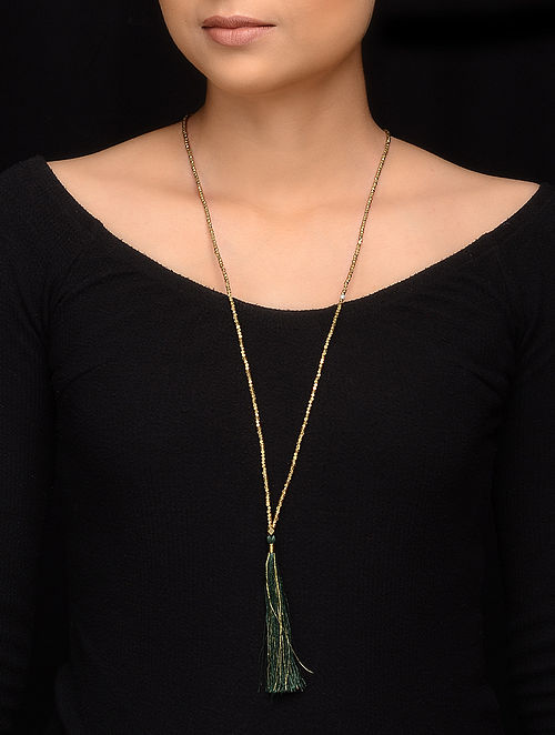 Green Gold Brass Beaded Handcrafted Necklace