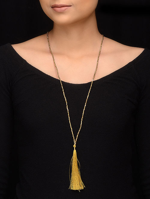 Yellow Gold Brass Beaded Handcrafted Necklace