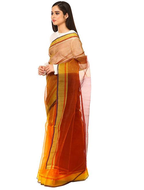 Yellow Maheshwari Silk-Organza Saree