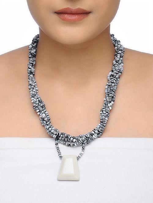 Black-White Beaded Ceramic Necklace