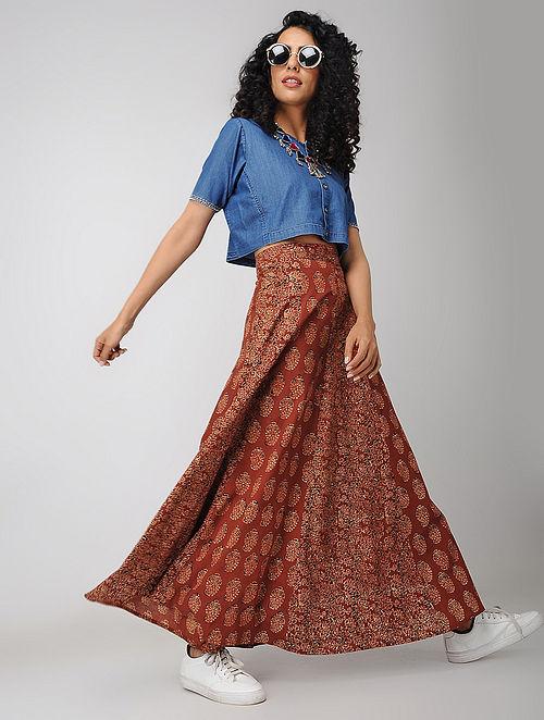 Madder-Black Block-printed Cotton Paneled Skirt