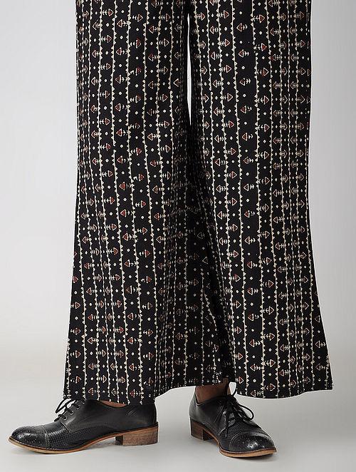 Black-Madder Elasticated-waist Block-printed Cotton Palazzos