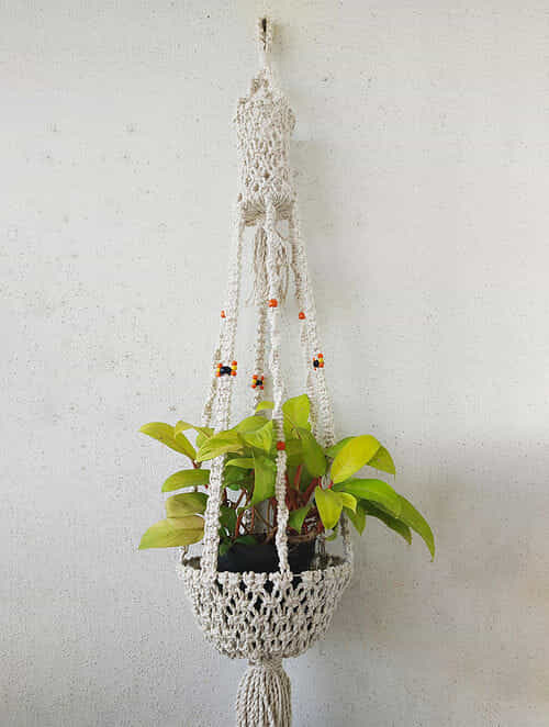 Off-White Macrame Cotton Pot Holder with Glass Beads (47in x 10in)
