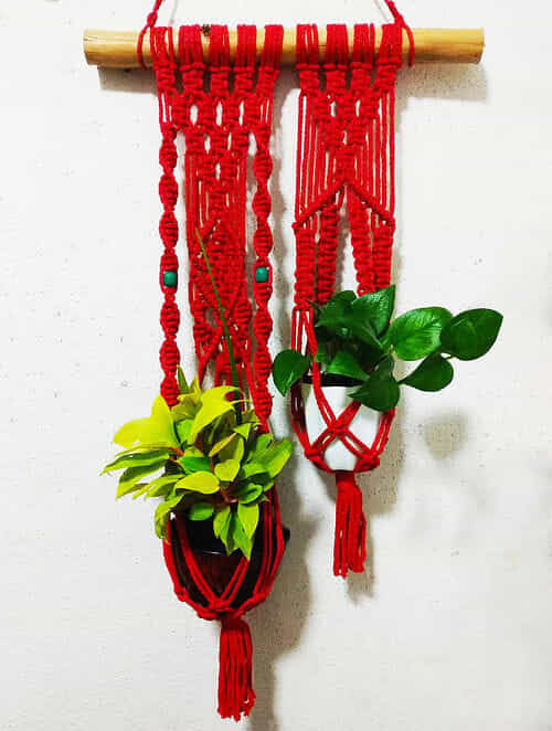 Red Macrame Polyester and Wood Pot Holder with Wood Beads (38in x 17in)
