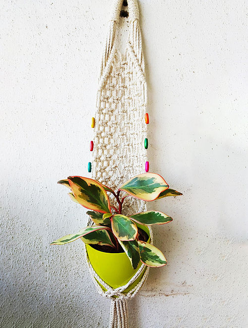 Off-White Macrame Pot Holder (35in x 7in)