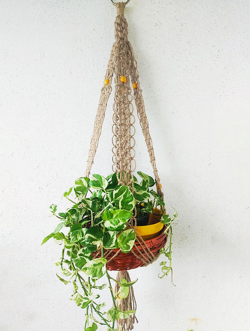 Brown Macrame Jute Pot-holder (41in x 2.1in)