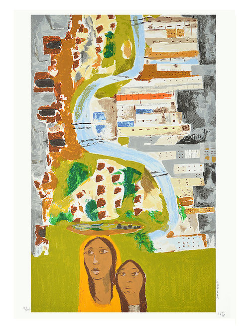 Haku Shahs Limited Edition Sabarmati Serigraph On Paper (30in x 22in)