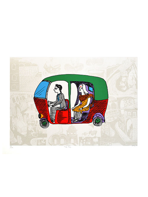 Esther Davids Limited Edition Tuk-Tuk Serigraph On Paper (22in x 30in)