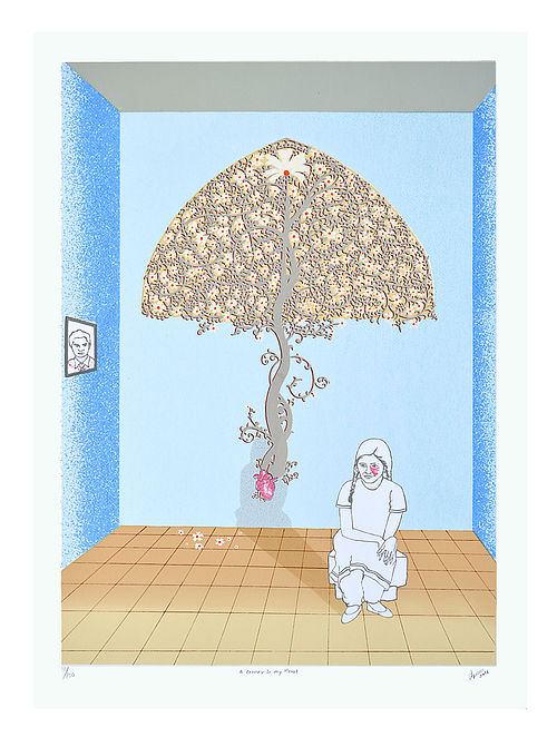 Jigna Gaudanas Limited Edition A corner in my Heart Serigraph On Paper (30in x 22in)