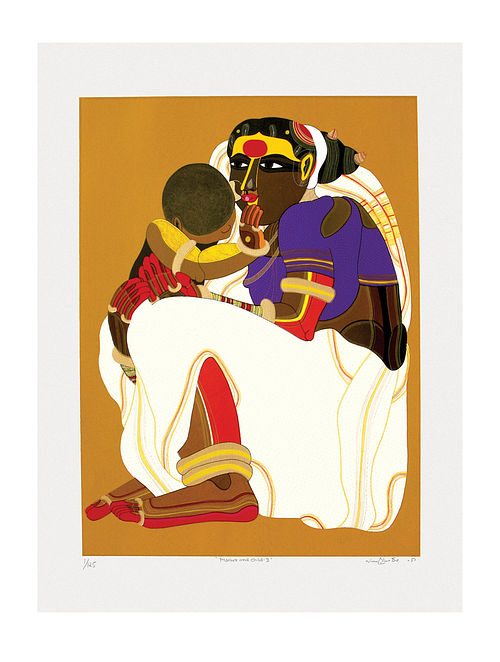 Thota Vaikuntams Limited Edition Mother & Child Serigraph On Paper (40in x 30in)