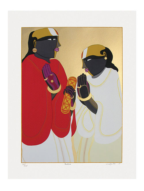 Thota Vaikuntams Limited Edition Panditas Serigraph On Paper (40in x 30in)