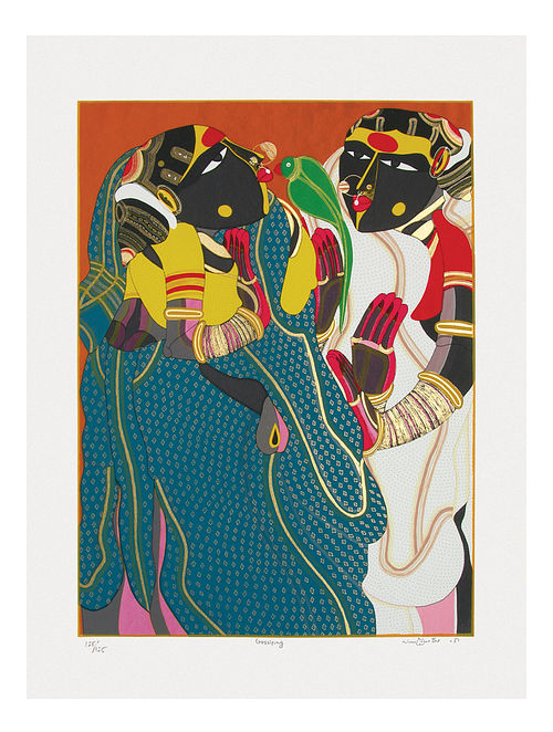 Thota Vaikuntams Limited Edition Gossiping Serigraph On Paper (40in x 30in)