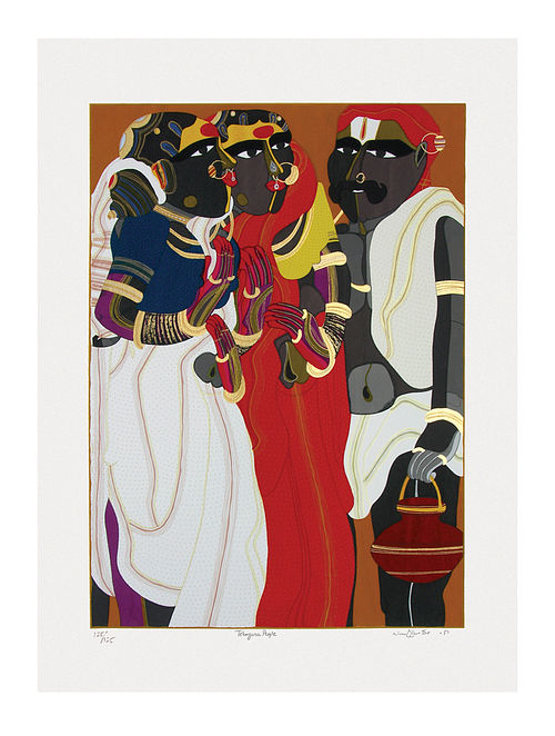 Thota Vaikuntams Limited Edition Telangana People Serigraph On Paper (40in x 30in)
