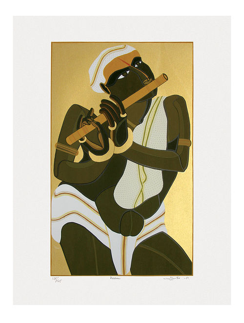 Thota Vaikuntams Limited Edition Krishna Serigraph On Paper (40in x 30in)