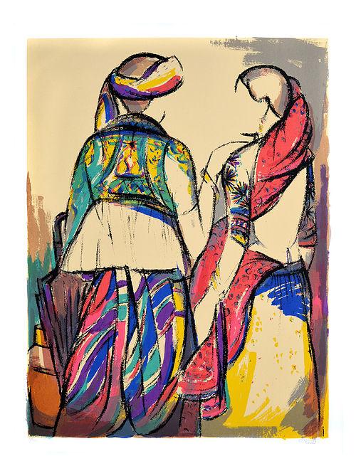 Vrindavan Solankis Tribal Couple Serigraph on Paper (52in x 40in)