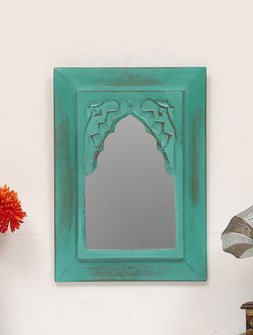Teal Vintage Inspired Carved Mirror (L:10in, W:1in, H:14in)