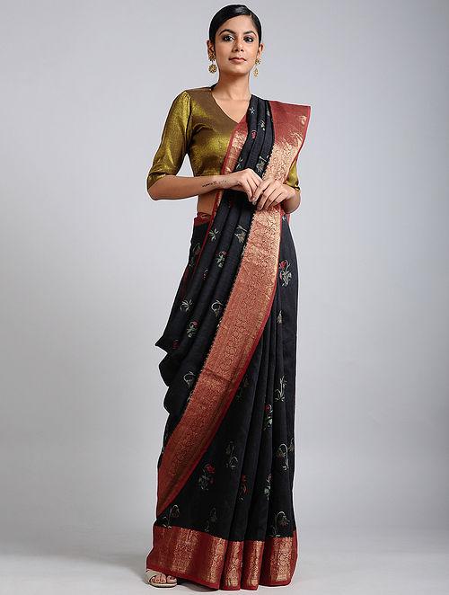 Black Handwoven Block Printed Muga Silk Saree