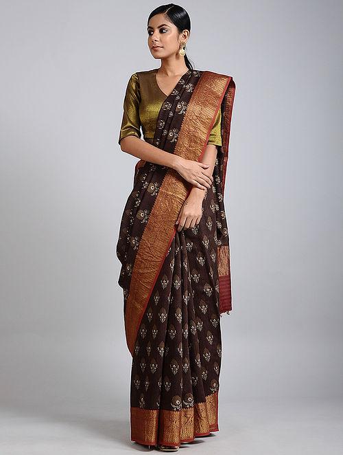Brown Handwoven Block Printed Muga Silk Saree