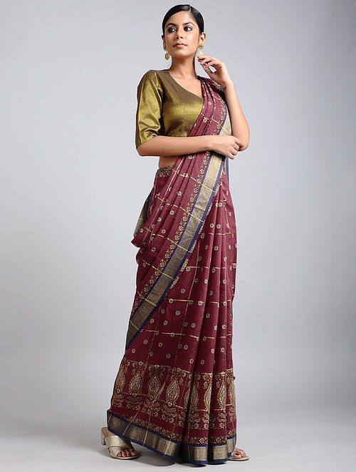 Maroon-Blue Handwoven Block Printed Muga Silk Saree