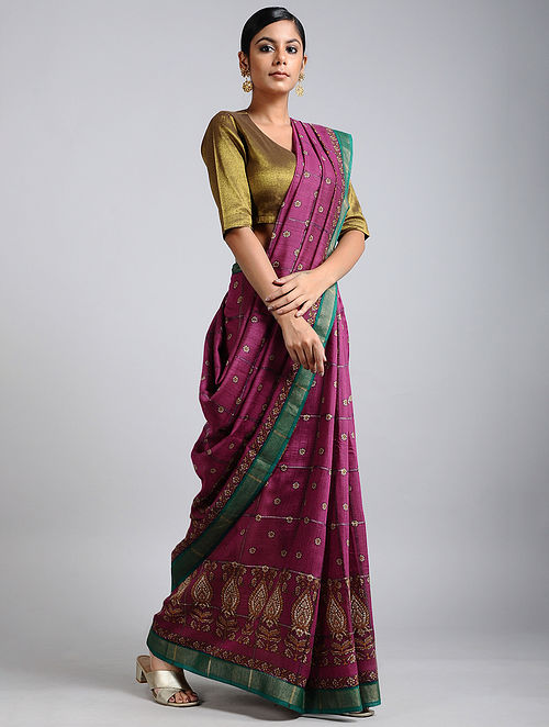 Magenta-Green Handwoven Block Printed Muga Silk Saree
