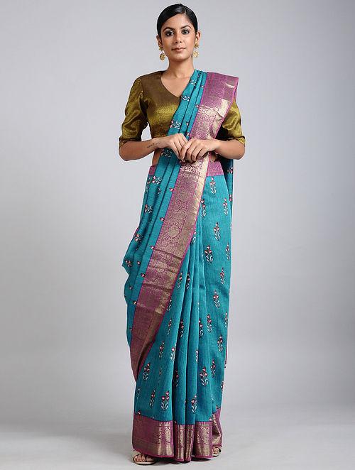 Blue-Pink Handwoven Block Printed Muga Silk Saree