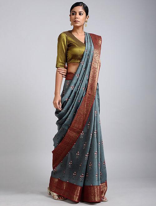 Grey-Rust Handwoven Block Printed Muga Silk Saree