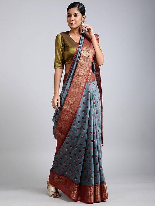 Blue-Rust Handwoven Block Printed Muga Silk Saree