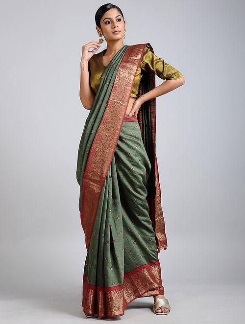 Green-Rust Handwoven Block Printed Muga Silk Saree
