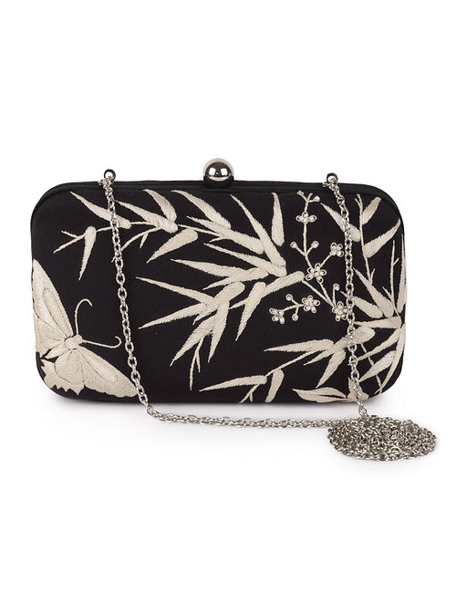Black-Ivory Bamboo with Butterfly Crepe Silk Parsi Gara Box Clutch