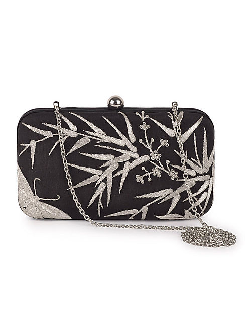 Black-Silver Bamboo with Butterfly Crepe Silk Parsi Gara Box Clutch