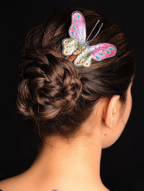 Pink-Green  Crepe Silk Parsi Gara Hair Pin