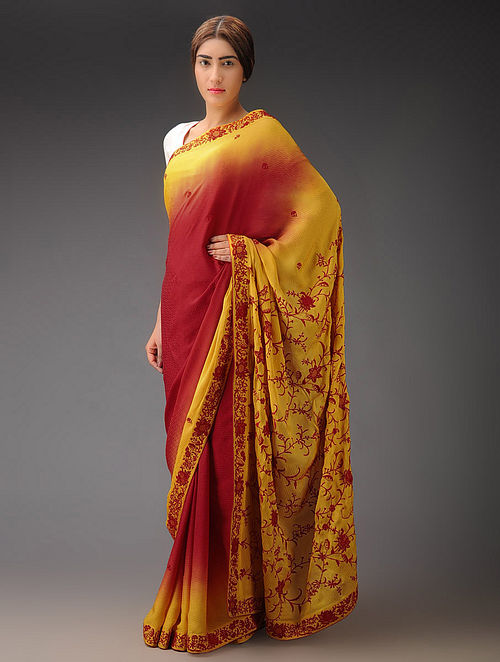 Red-Yellow Ombre Jaal with Net Crepe Jacquard Parsi Gara Saree