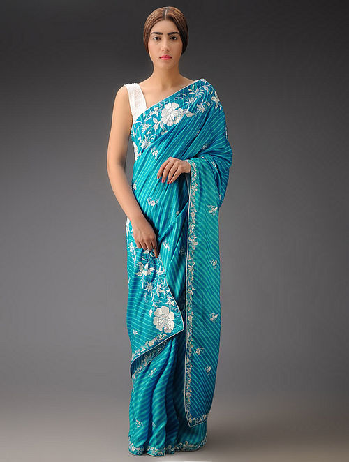 Sky Blue-Ivory Leheriya Rose Silk Parsi Gara Saree