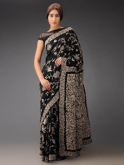 Black Chrysanthemum Jaal Crepe Silk Parsi Gara Saree