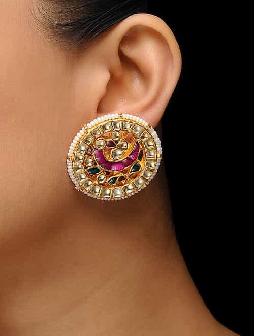 5d20c90eef3c9 Buy Pink-Green Gold Plated Kundan Inspired Brass Stud Earrings Online at  Jaypore.com
