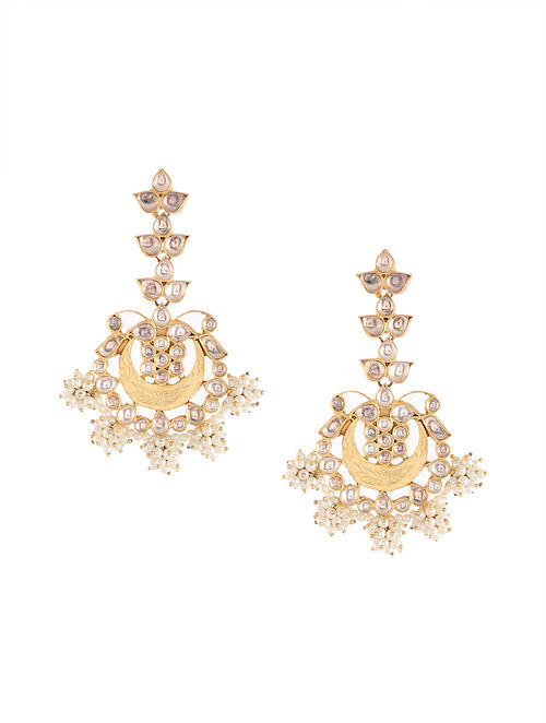 Gold Tone Kundan Silver Earrings with Pearls