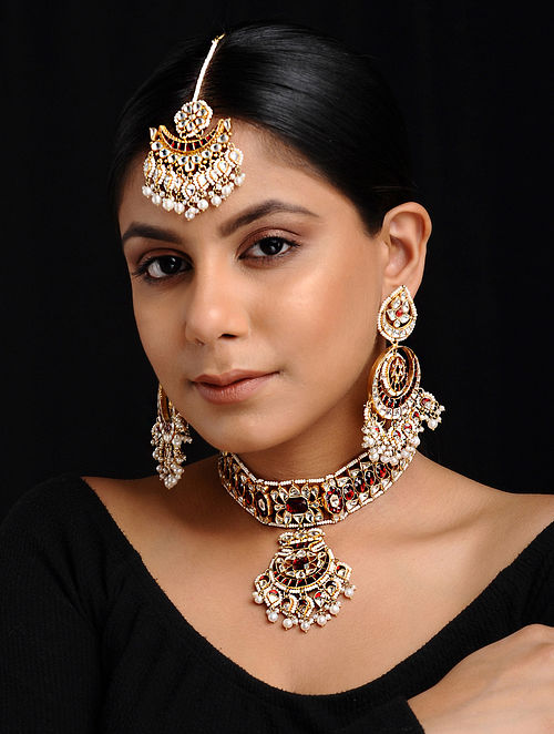 Jewelry & Watches Jewelry Sets Antique Gold Plated Pearl Setting Designer Necklace Earrings Matching Tikka A Catalogues Will Be Sent Upon Request