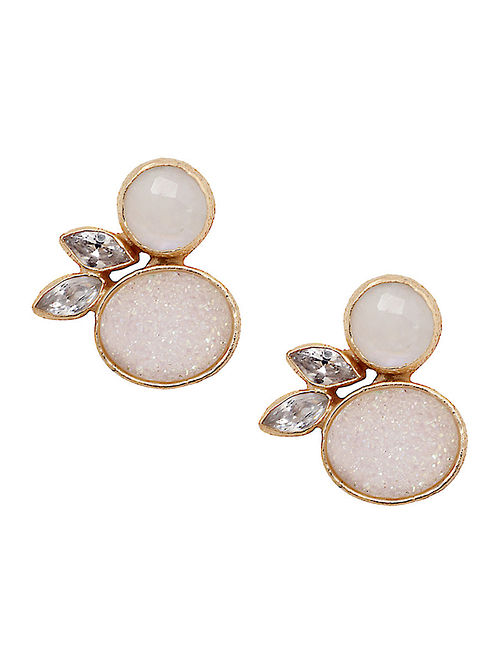 c6d6bb843 Buy White-Gold Moonstone & Druzy Stud Earrings Online at Jaypore ...