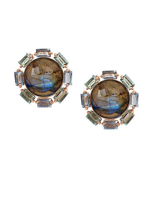 Blue Orb Circular Stud Earrings
