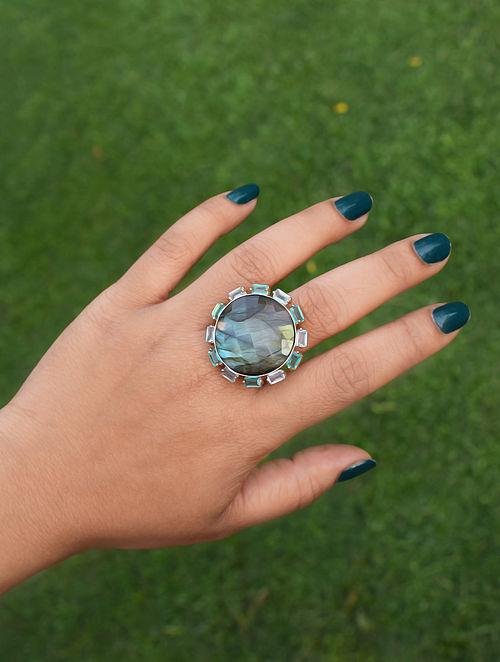 Blue Orb Statement Adjustable Ring