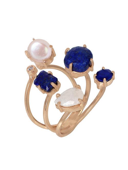 Blue-White Gold Tone Lazuli Penta Adjustable Ring