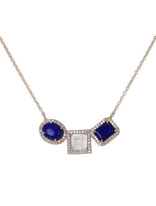 Blue-White Gold Tone Lazuli Trio Demi Necklace