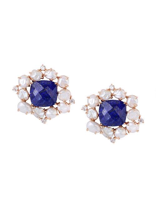 Blue-White Gold Tone Lazuli Statement Stud Earrings