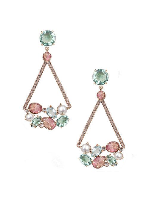 Pink-Blue Candy Cabana Triangular Drop Earrings