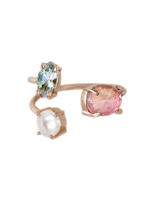 Pink-Blue Candy Cabana Trio Demi Ring