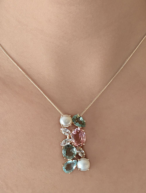 Pink-Blue Candy Cabana Multigem Pendant Necklace
