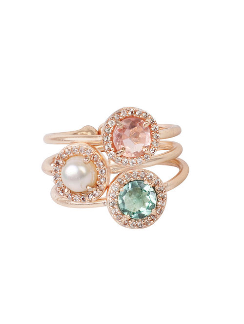Pink-Blue Candy Cabana Multigem Pave Ring